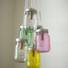 Mason Jar Chandelier Swag Light Hanging Lighting Fixture 3