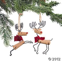 "Reindeer Ornaments  Crafty and cute, these precious little reindeer will dance and prance in the boughs of your tree. Made from cork, these Christmas tree ornaments would make a fun gift for the wine lover on your gift list. Cork. Set of two. 5""L x 5""W. $ 7"