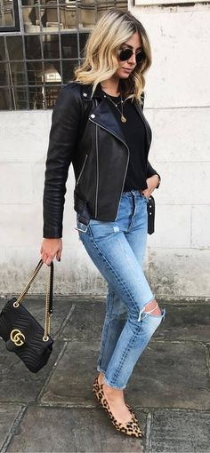 how to wear a biker jacket : top + bag + ripped jeans + animal printed shoes