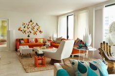 Décoration salon avec des motifs oranges ~ Décoration Salon / Décor de Salon