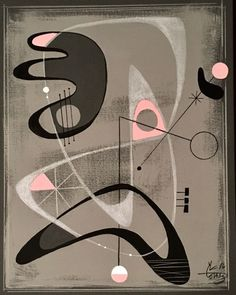 EL GATO GOMEZ PAINTING RETRO 1950'S ATOMIC ERA MID CENTURY MODERN ABSTRACT EAMES #Modernism