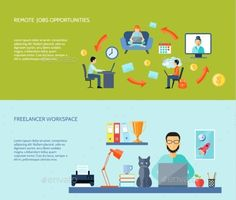Freelance Flat Banner Set by macrovector Freelancer workspace at home and remote jobs opportunites flat color horizontal banner set isolated vector illustration. Editable