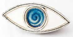 Ceramic evil eye sculpture table art blue eye ceramic