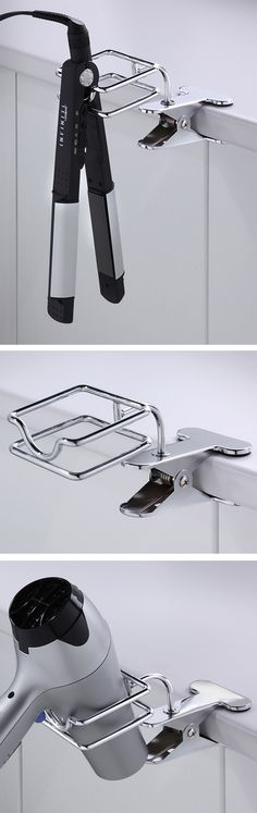 Clip on blow dryer  flat iron / hair straightener holder // genius! I need this product in my bathroom!
