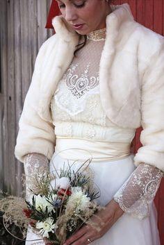 #winter wonderland #vintage lace winter wedding dress