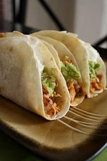 Dump 1 envelope of taco seasoning, 6 boneless, skinless chicken breasts & a jar of salsa in the crockpot, stir and cook on high(4-6 hrs.) or low(6-8 hrs.) Should be able to shred with a fork. Place meat mixture in tortillas and top with your favorite toppings!