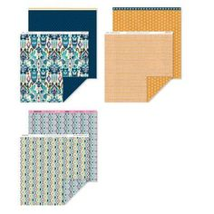 """Close To My Heart Sarita Paper Pack. Includes 6 – 12"""" × 12"""" Cardstock Sheets (2 Lagoon, 2 Outdoor Denim, 1 Colonial White, 1 Goldrush). 6 – 12"""" × 12"""" B Duos® Papers (2 each of 3 double-sided designs) for only $9.95 at www.Mandy.CTMH.com"""