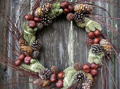 Natural Wreath - Twiggy Green Symphony - with Chestnuts, Evergreen Cones, Cherry Branches  Millet