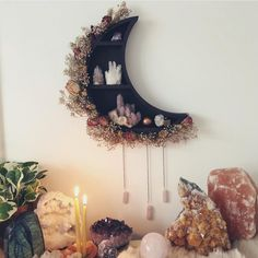 I've been thinking of making some more of these in the new year, would you like too see these beautiful moons make a comeback? I hope your all having a lovely week so far! Crystals In The Home, Diy Crystals, Witch Room, Crystal Shelves, Crystal Decor, Crystal Bedroom Decor, Witch Decor, Beautiful Moon, Aesthetic Bedroom