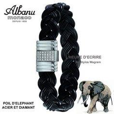 Bracelet Albanu Poils d'Elephant Tressé Fermoir Acier et Diamant