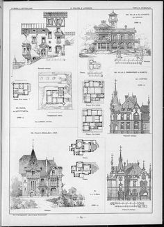 Villas, cottages and country houses / drawings of architectural monuments, buildings and objects - a visual history of architecture and styles (1000×1388)