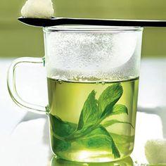 Mint tisane:      1 bunch(es) fresh mint      1 bunch(es) fresh lemon verbena      (optional)      3 cup(s) (up to 6 cups) boiling      water      Sugar (optional), to taste