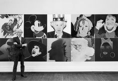 Robert Levin, Andy Warhol standing in front of the installation of the Myths at the Robert Feldman Gallery in New York City Photo: courtesy Maison Gerard. Original Prints, Photo, Andy Warhol, Visual Art, Art, Artsy, Art Movement, Pop Art, American Artists