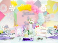 Jillian and Jilleen's Sweet Shoppe Themed Party – Birthday 1st Birthday Girls, Unicorn Birthday Parties, Purple Table, Glitter Force, Party Needs, Wonderland Party, Host A Party, Paper Lanterns, Party Photos