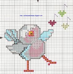 free cross stitch pattern - bird singing1