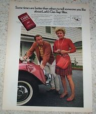 1970 ad page - LARK cigarettes - lady & red dented VW car vintage tobacco ADVERT