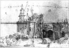 Old.St.Pauls.Ruins.1666 - Antigua Catedral de San Pablo - Wikipedia, la enciclopedia libre