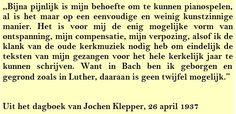 Quote. Bach 1937 - Citaat uit dagboek Jochen Klepper