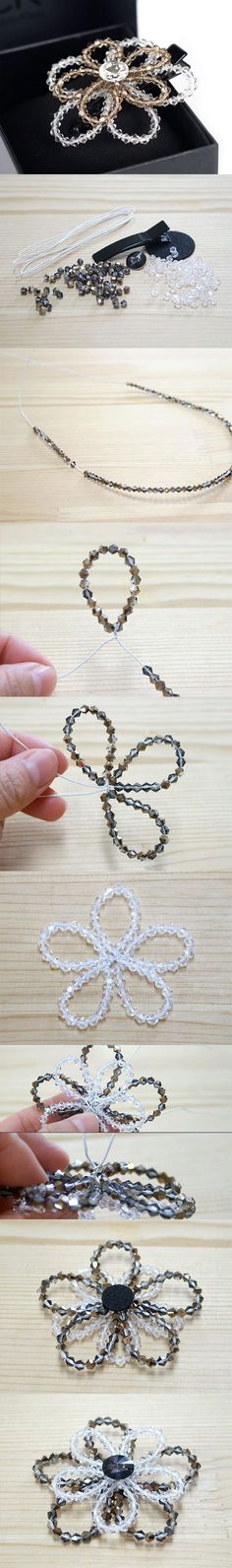 http://www.beadshop.com.br/?utm_source=pinterest&utm_medium=pint&partner=pin13 DIY Beaded Crystal Flower