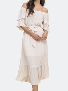Off Shoulder Gown, Off The Shoulder, Types Of Sleeves, Sleeve Types, Belt Tying, Ruffle Sleeve, Gowns, Baby Shower, Tie