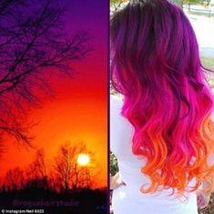 Sunset Hair - Hair And Beauty Cute Hair Colors, Beautiful Hair Color, Hair Dye Colors, Cool Hair Color, Bright Hair Colors, Beautiful Sunset, Rainbow Hair Colors, Vivid Hair Color, Neon Rainbow