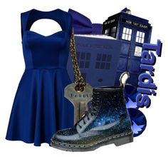 """""""The Tardis from Doctor Who"""" by the-gurl-on-fire ❤ liked on Polyvore featuring Oneness, Dr. Martens, women's clothing, women, female, woman, misses and juniors"""