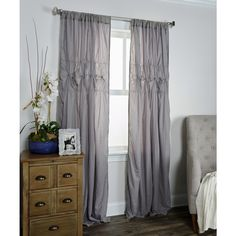 Arden Loft Torsades Collection Grey Cotton Curtain Panel