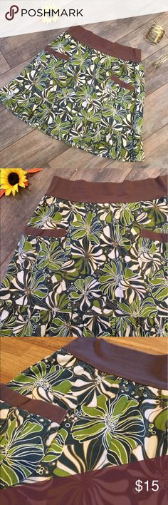 """Summer skirt (Host Pick 7/13) Pretty skirt in various greens, cream and brown. Colors are slightly more muted than shown in pics.  Two front pockets.  Elastic/stretchy waist.  18.5"""" length, 14.5"""" waist when flat. Mimi Chica Skirts"""