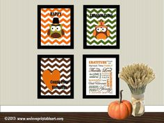 Thanksgiving Decor Set of 4 Prints!  by WeLovePrintableArt on Etsy,