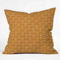 • Yellow throw pillow complements your home decor with color and artistic design• Geometric-print throw pillow features imagery inspired by Moroccan.