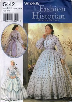 Simplicity 5442  Martha McCain Fshion Historian Misses Civil War Costume Antebellum Dress and Sash Wedding Gown reenactment sewing pattern by mbchills