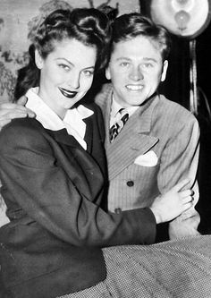 Mickey Rooney and bride, Ava Gardner, in the Daily News' Color Studio. 1942