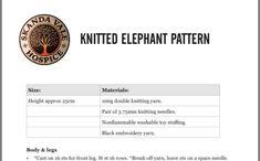 Knitting Needles, Knitting Yarn, Elephant Pattern, Double Knitting, It Cast, Embroidery, Needlepoint, Cut Work, Needlework