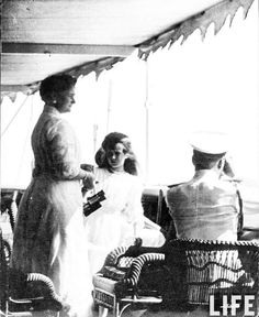 Empress Alexandra Feodorovna of Russia with her youngest daughter,the Grand Duchess Anastasia Nikolaevna Romanova of Russia on board the Imperial Royal yacht,the Standart in 1911