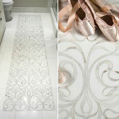 Tile bathroom - Installing a runner tile is a savvy design solution for small spaces KSNY designer Keith Schwebel adds elegance to a narrow powder room with our gracefully flowing Thassos and Calacatta Gold Danse Floor Design, Tile Design, Artistic Tile, Bathroom Floor Tiles, Shower Floor, Tile Floor, Bath Remodel, Beautiful Bathrooms, Bathroom Inspiration