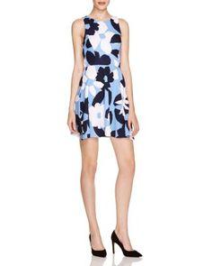 AQUA Floral Print Skater Dress   Bloomingdale's