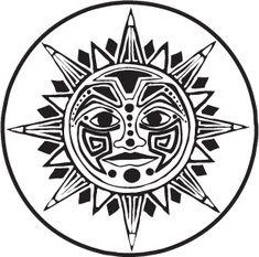 aztec sun Coloring Pages - Bing Images Mayan Tattoos, Sun Tattoos, Body Art Tattoos, Chicano Tattoos, Indian Tattoos, Polynesian Tattoos, Aztec Drawing, Sun Drawing, Sun Tattoo Designs