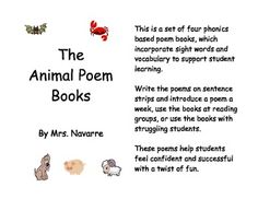 Fun poem books that help to build phonics and sight words knowledge.