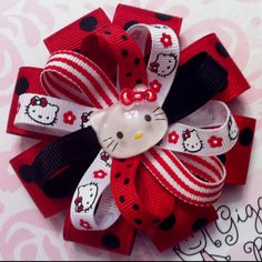 My RED Hello Kitty hair bow!  Can be purchased through my Giggly Girl Bowtique FB page!