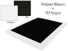 Base Tapizada Polipiel Blanco + 3D Negro