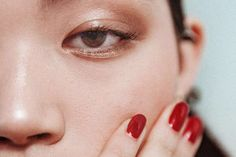 """Two seasons of covering Brock Collection and it's already become a mainstay for Romantic, soft makeup—big ups to key artist Benjamin Puckey for using a palette everybody can afford. But Fashion Week is all about contrast, and the nail shade, Zoya Courtney, is the perfect dirty red. It's as if to say to the world, """"I don't give a fuck about chocolates and roses. I can do fine all by myself."""" Photographed by Tom Newton. - Into The Gloss"""