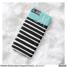 Modern black stripes turquoise brush cute monogram