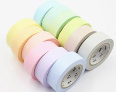 Sample Set - washi tape MT 2016 spring collection set of 12 basic soft colors each Stationary Supplies, Stationary School, Cute Stationary, School Stationery, Art Supplies, Korean Stationery, Masking Tape, Duct Tape, Washi Tapes