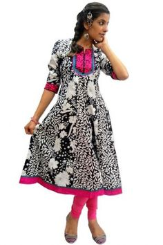 """""""Anarkali Long Kurta"""" Price: 595 100% Printed cotton long kurti in anarkali style makes it both casual and formal kurti. Computer embroidery at neck yoke and sleeves. Note : Legging are not included in price."""
