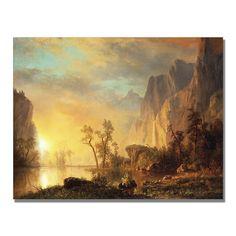 Albert Bierstadt 'Sunset in the Rockies' Canvas Art