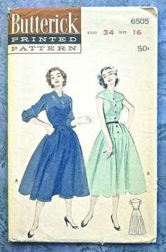 Butterick 6505  Vintage 1950s Womens Dress Pattern  by Fragolina, $10.00