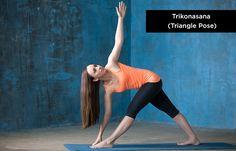 Trikonasana (Triangle-Pose) - Yoga for Increasing Height Yoga Nidra, Vinyasa Yoga, Yoga Journal, Triangle Pose Yoga, Poses Yoga Faciles, Increase Height Exercise, Taller Exercises, Plyometric Workout, Easy Yoga Poses