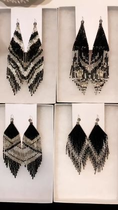 Boho seed beaded earrings by Luba Ro Black and silver variations of luxury collection of seed beaded earrings. Created and made by Luba Ro. Beadwork Designs, Beaded Jewelry Designs, Bead Jewellery, Seed Bead Jewelry, Seed Bead Earrings, Diy Earrings, Jewelry Patterns, Seed Beads, Diy Jewelry