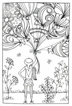 Girl with balloons | inkspirations adult coloring page