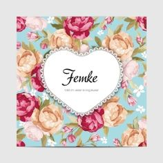 Geboortekaartje hartje bloemen voetjes afdruk is een lief meisjes-kaartje. Papiersoorten mat en structuur zijn het mooiste.
